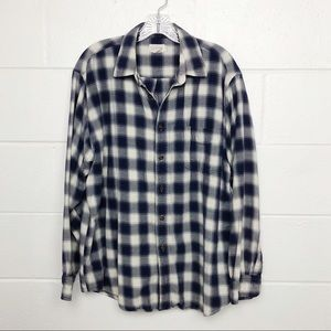 J Crew Blue Plaid Flannel Button Down Shirt Large